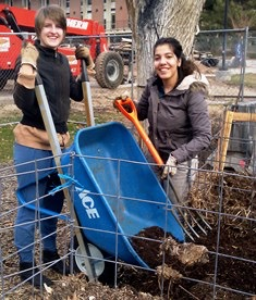 Students volunteer with Edible Campus Gardens turning the compost to prepare for spring fertilizing at the Pioneer Gardens