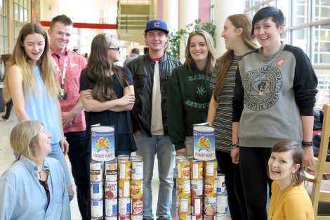 Adrienne Cachelin and students raise awareness for the Utah Food Bank.