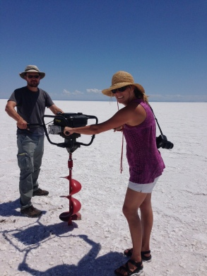 Conducting fieldwork last July in the Bonneville Salt Flats.