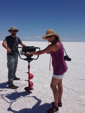 Conducting fieldwork last July in the Bonneville Salt Flats.