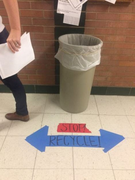 Stop! Think through your trash and use the recycling bins whenever possible.