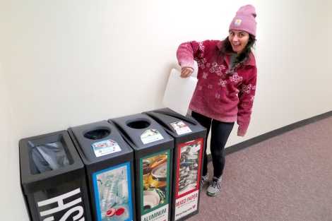 Sustainability Ambassador Sarah Martinez sets an example for all of us on campus by recycling her mixed paper!