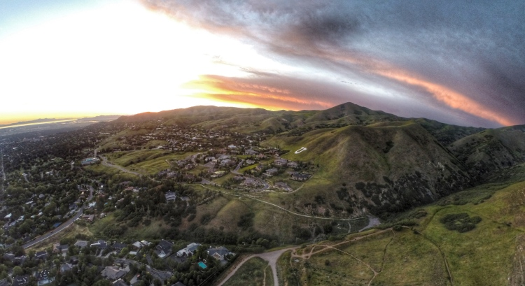 Arial view of the foothills and the University's U at sunset