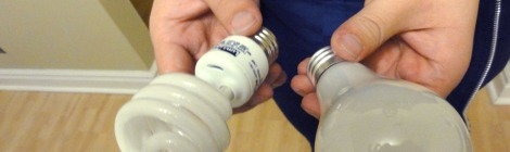 Student holding a compact fluorescent lamps and an incandescent light bulb