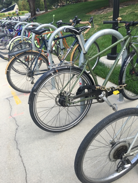 Diagonal line of bikes all locked up