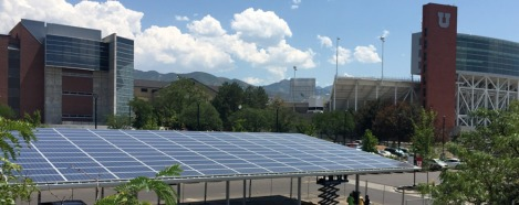 Photo of the law school's solar canopy.