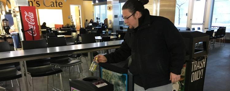 Glass recycling bin at University of Utah Mom's Cafe