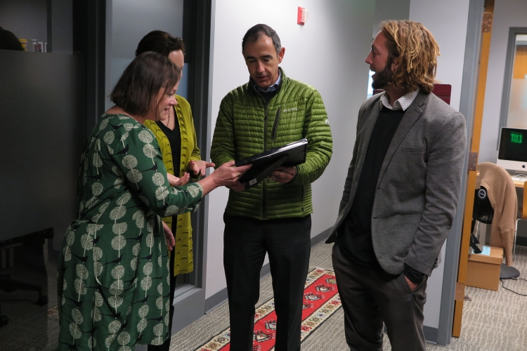 The Second Language Teaching & Research Center receiving their Green Office Certification.